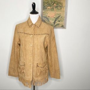 Scully Light Suede Leather Fringe Jacket New XL